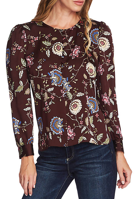 Vince Camuto Floral Button Pleat Long Sleeve Blouse