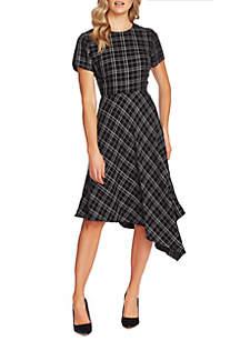 Vince Camuto Plaid Asymmetrical Hem Dress