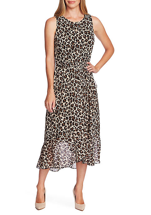 Vince Camuto Belted Ruffle Hem Leopard Dress