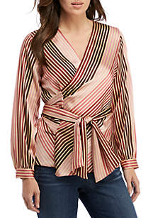 Stripe Belted Wrap Blouse