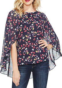 Twilight Etched Ditsy Cape Blouse