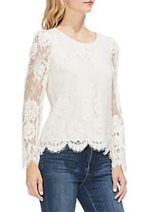 Lace Puff Shoulder Blouse