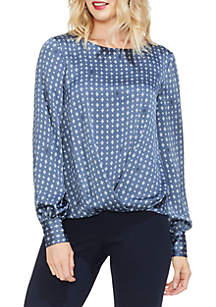 Geometric Print Puff Sleeve Blouse