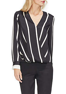 Long Sleeve Dramatic Stripe Wrap Top