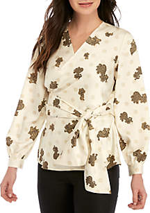 Long Sleeve Paisley Belted Wrap Blouse