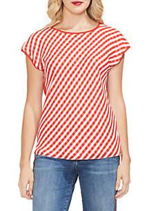Short Cap Sleeve Stripe Top