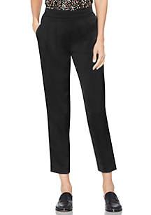 Slim Leg Front Pleat Soft Satin Pants