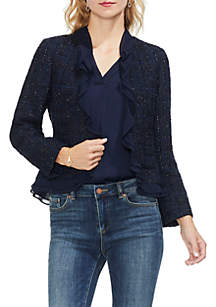 Ruffle Front Tweed Blazer