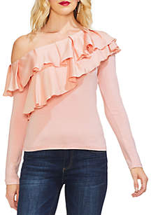 Asymmetrical Tiered Ruffle Mixed Media Top