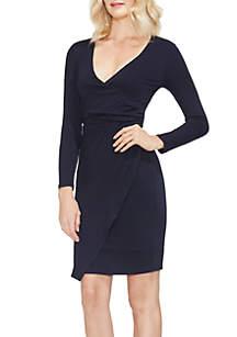 Long Sleeve Wrap Front V-Neck Dress