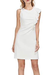 Asymmetrical Ruffle Ponte Dress