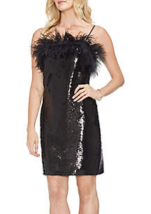 Vince Camuto Feather Trimmed Fish Scale Sequin Dress