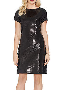 Short Sleeve Fish Scale Sequin Dress