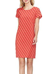Short Sleeve Scallop Stripe Shift Dress