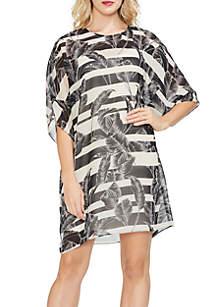 Vince Camuto Dolman Sleeve Tropical Shadow Overlay Dress