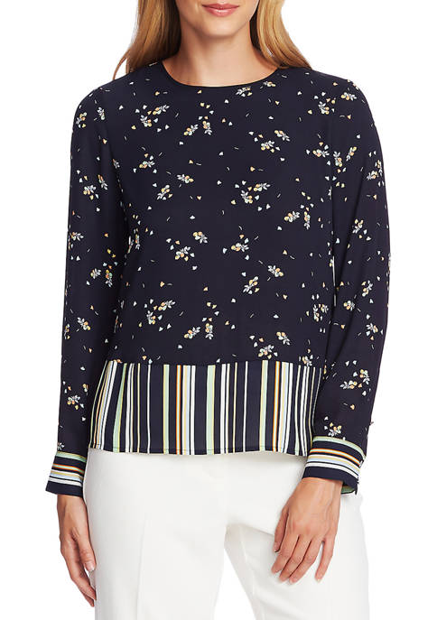 Womens Stripe Hem Floral Pullover Blouse