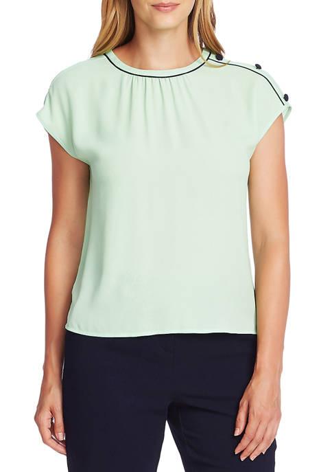 Womens Button Shoulder Tip Blouse