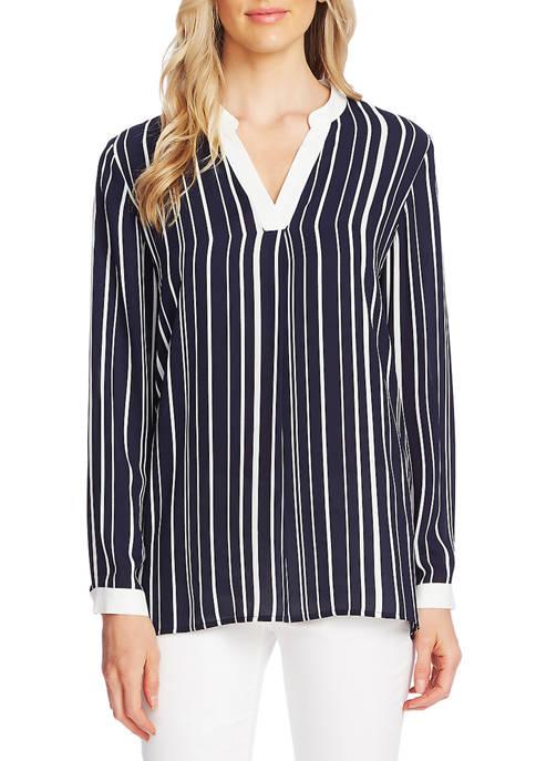 Womens Stripe Split Neck Blouse