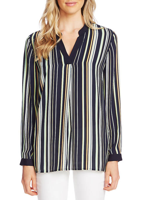 Womens Vertical Stripe Split Neck Blouse