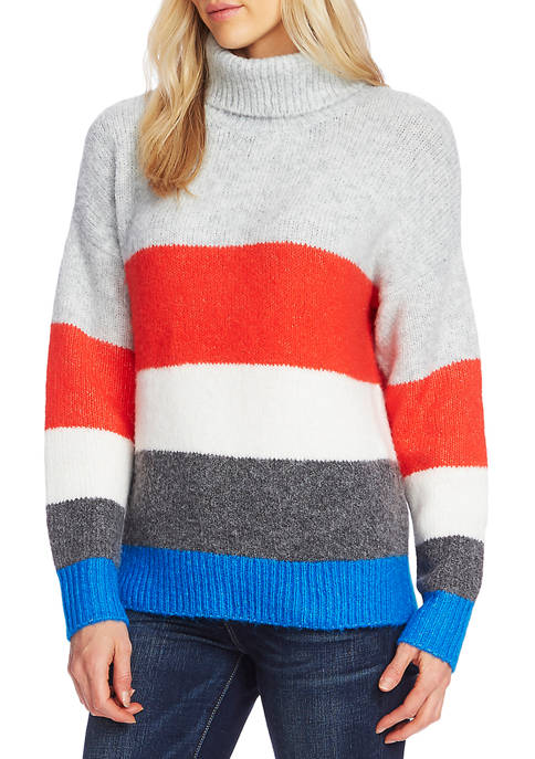 Vince Camuto Womens Colorblock Turtleneck Sweater