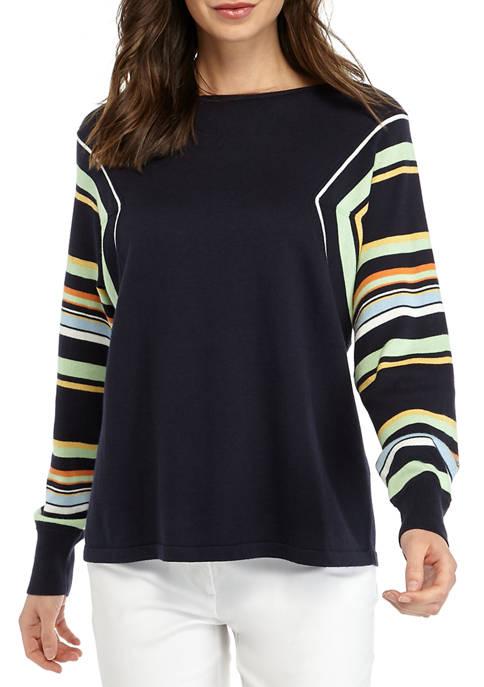 Womens Stripe Color Block Dolman Sweater