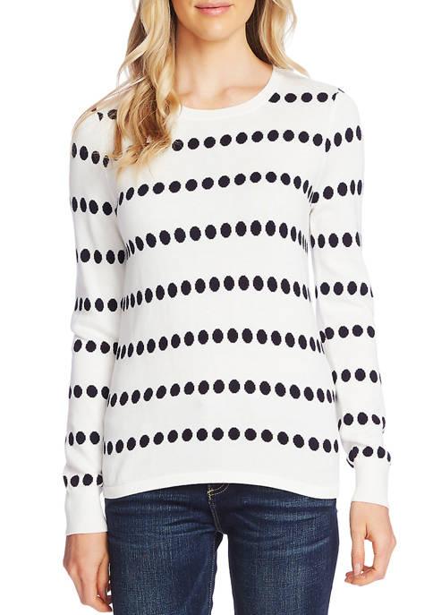 Womens Dot Jacquard Crew Neck Sweater