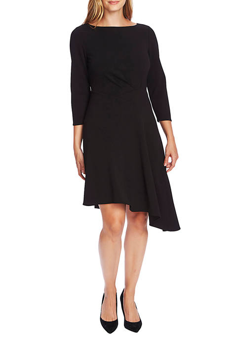 Womens 3/4 Sleeve Asymmetrical Dress