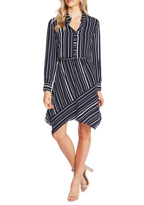 Womens Asymmetric Hem Stripe Shirt Dress