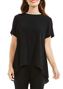 Short Sleeve High Low Hem Textured Blouse