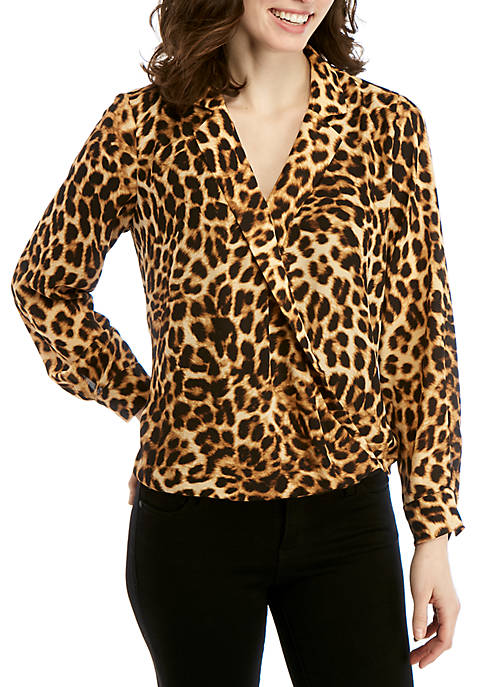 Vince Camuto Long Sleeve Animal Wrap Front Blouse