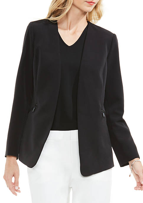 Vince Camuto Open Front Long Sleeve Zip Pocket