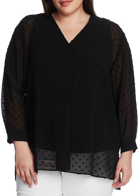 Plus Size Long Sleeve Dot Clipped V-Neck Top