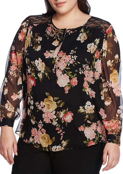 Plus Size Long Sleeve Beautiful Blooms Top