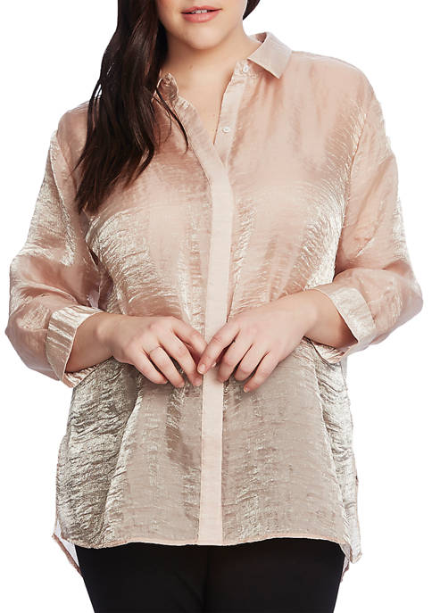 Plus Size Long Sleeve Organza Button Down Shirt