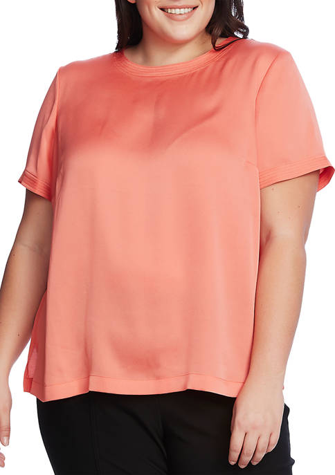Plus Size Short Sleeve Rumple Hammer Satin Blouse