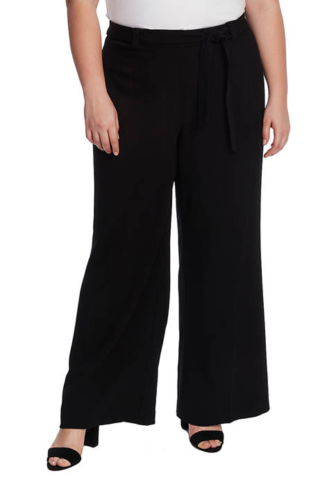 Plus Size Wide Leg Belted Pants
