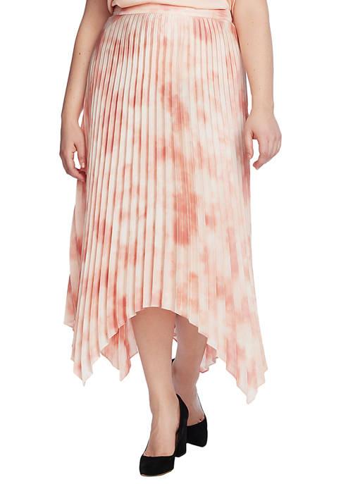 Plus Size Asymmetrical Hem Pleated Skirt
