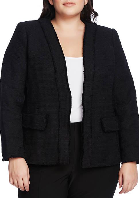 Plus Size Cotton Tweed Kiss Front Jacket