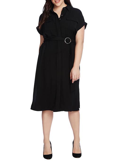 Plus Size Short Sleeve Rumple Twill 2 Pocket Dress