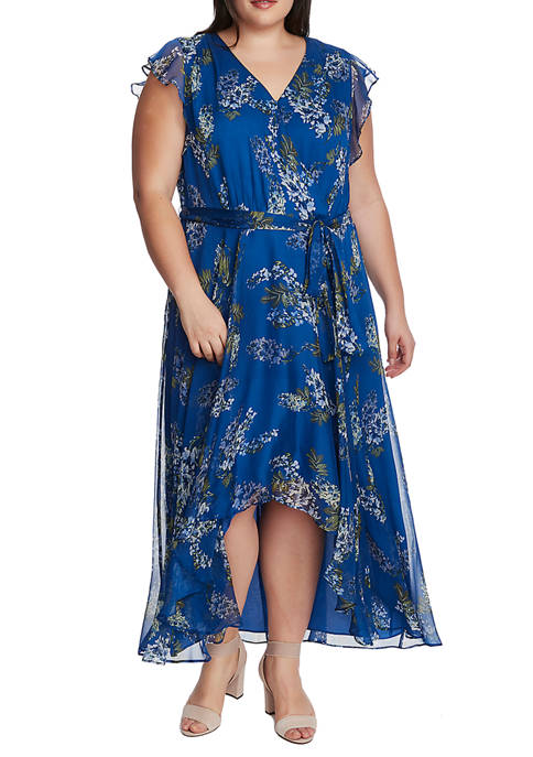 Plus Size Ruffle Printed Dress