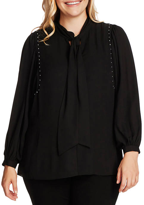 Plus Size Long Puff Sleeve Woven Blouse