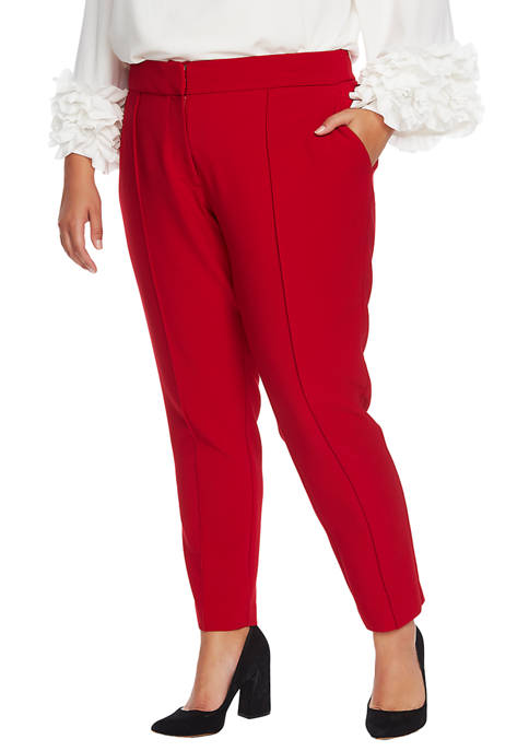 Plus Size Bi Stretch Crepe Pin Tucked Pants