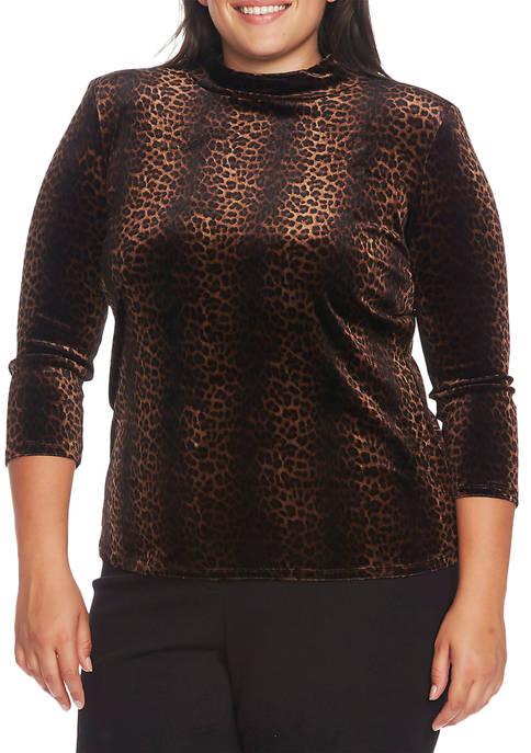Plus Size 3/4 Sleeve Animal Print Top