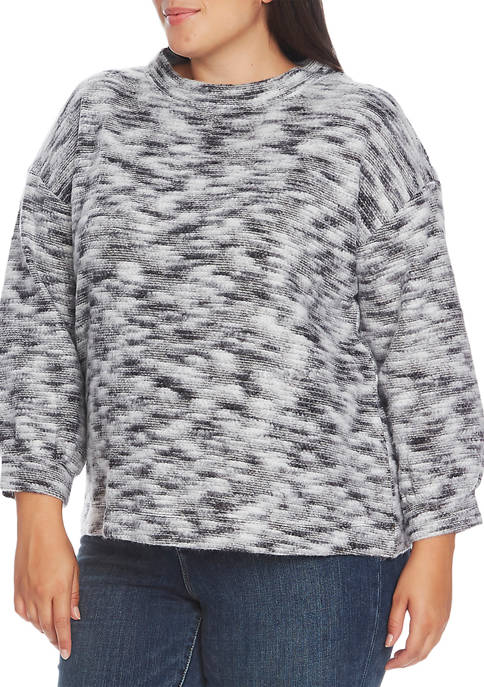 Plus Size Bubble Sleeve Brushed Top