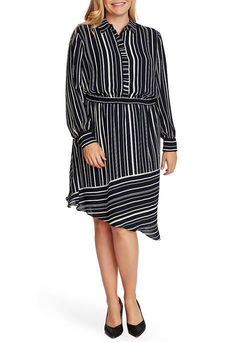 Plus Size Long Sleeve Asymmetric Stripe Shirt Dress