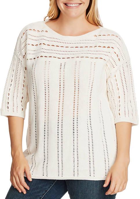 Plus Size Long Sleeve Open Stitch Boat Neck Sweater