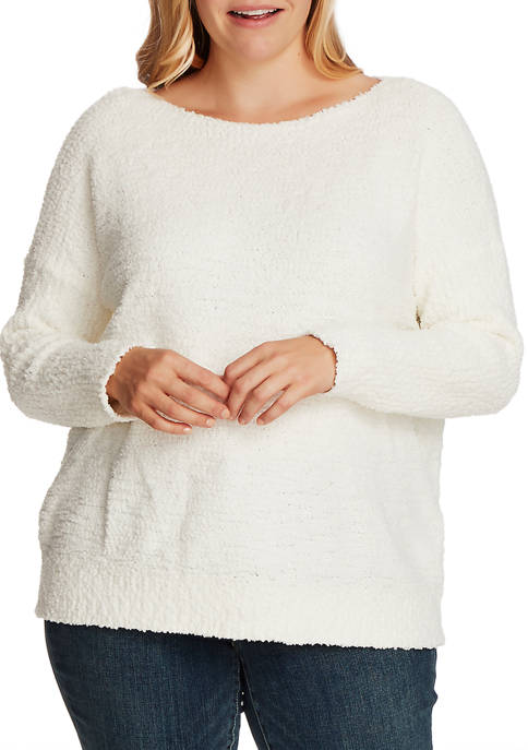 Plus Size Long Sleeve Boat Neck Sweater