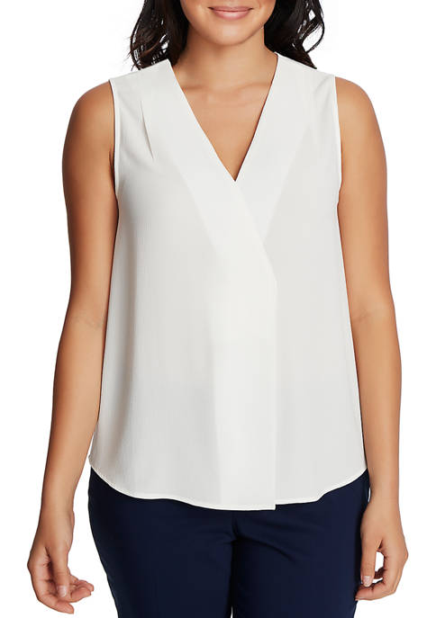 CHAUS Womens Sleeveless V-Neck Blouse