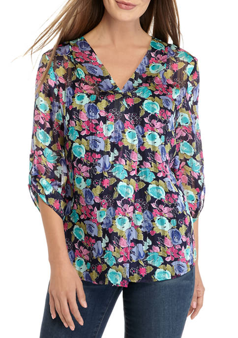 CHAUS Womens Roll Tab Sleeve V-Neck Floral Blouse