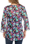 Womens Roll Tab Sleeve V-Neck Floral Blouse